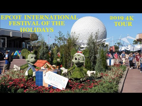 EPCOT International Festival of the Holidays 2019 4K Walkthrough Tour Walt Disney World