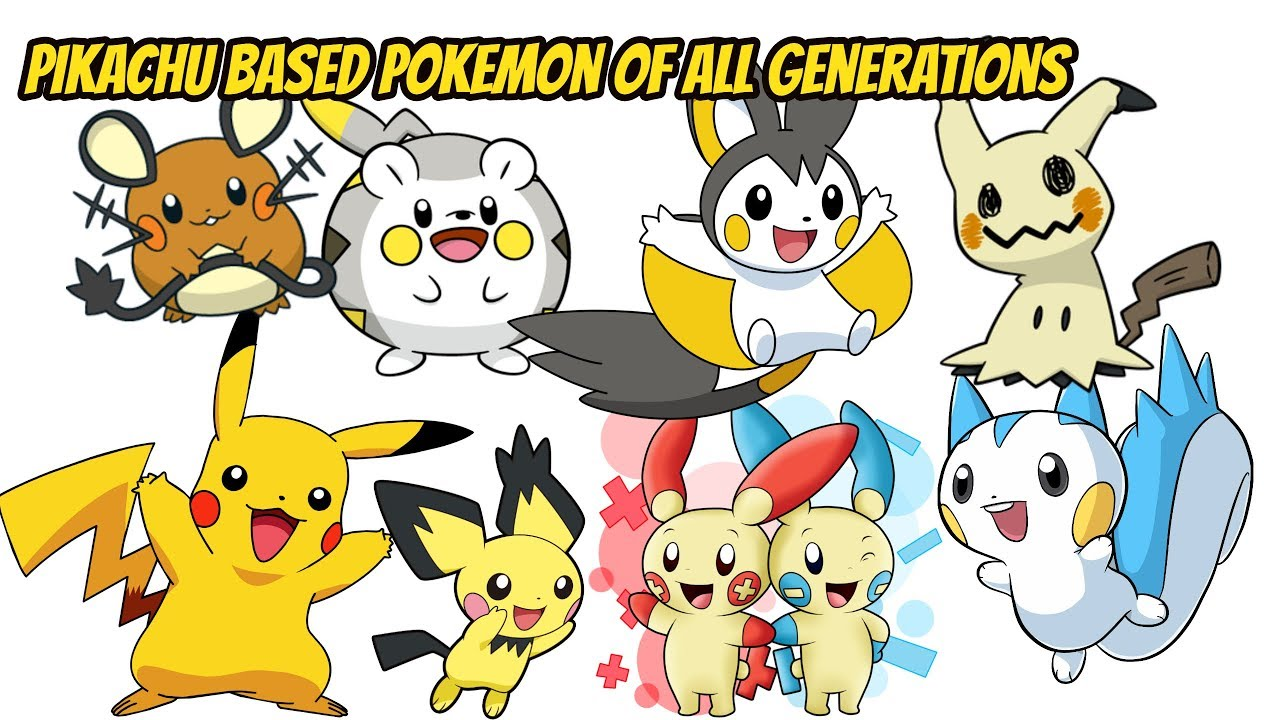 Pikachu Based Pokemon Of All Generations Pikachu Song Youtube