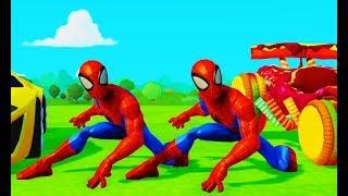 Мультик игра для детей про двух супергероев Человеков Пауков на машинках