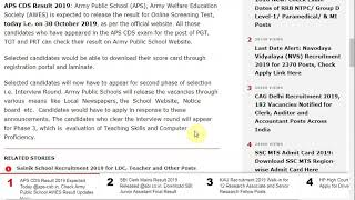 APS CDS Result 2019 Expected Today @aps-csb.in, Check Army Public School AWES Result ...