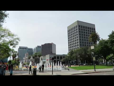 San Jose, California - Downtown area and Adobe building