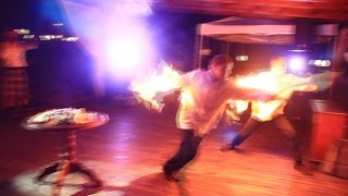 Мясо фламбе, повар загорелся, Flambe show disaster, chief burns