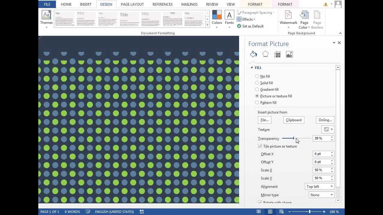 Microsoft Office Trial >> How to make Polka Dot Pattern in Microsoft Word 2013 - YouTube