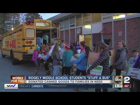 Ridgely Middle School students collect canned goods to 'Stuff a Bus'