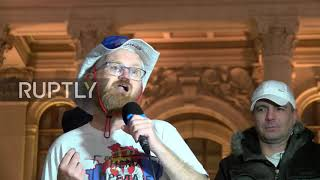 Serbia: Hundreds protest Kosovo negotiations outside parliament in Belgrade