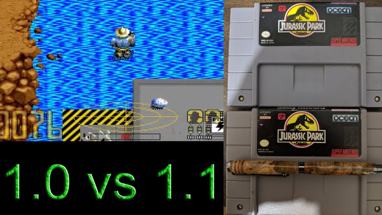 Jurassic Park (SNES) Cart Differences 1 0 vs 1 1 (Rev A)