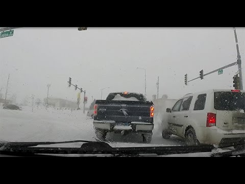 Driving in a Snow Storm in Sioux Falls, South Dakota - January 5, 2015