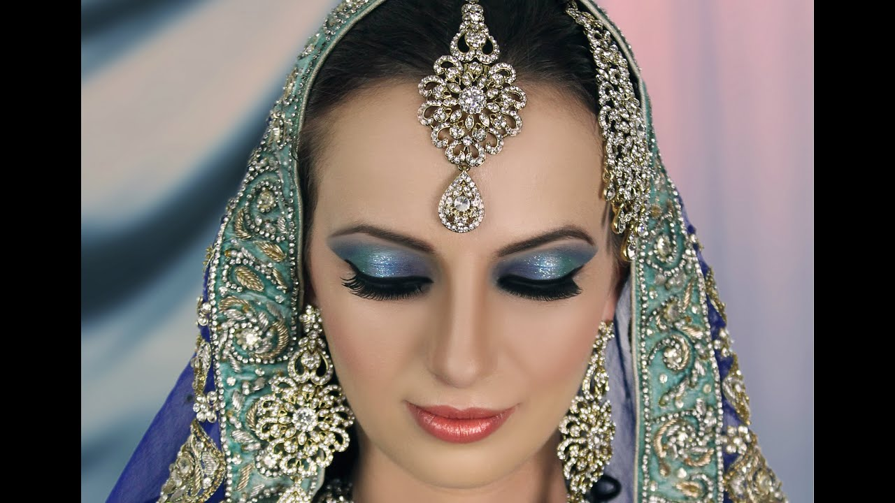 bridal makeup tutorial -blue turquoise with subtle glitter -indian asian pakistani contemporary look