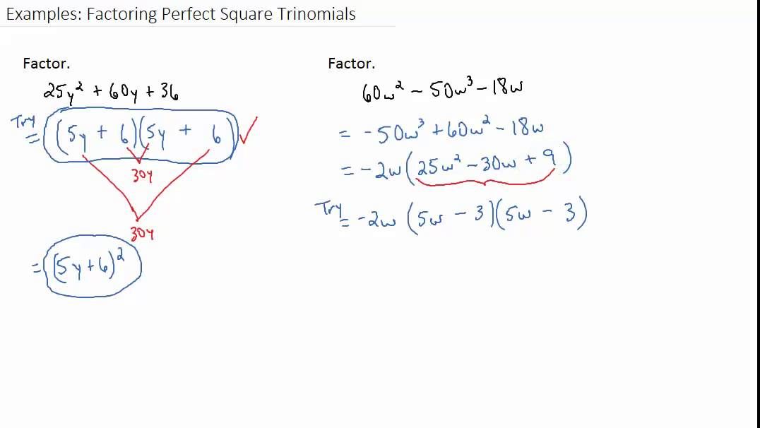 Examples: Factoring Perfect Square Trinomials - YouTube