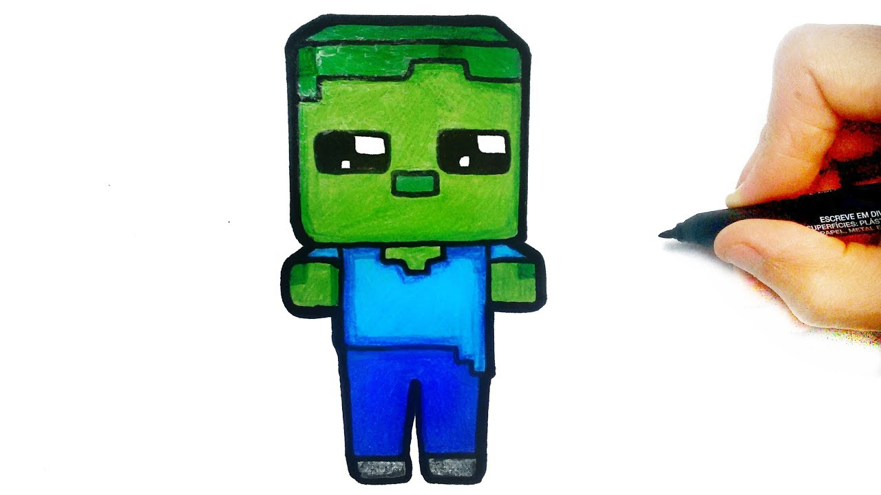 HOW TO DRAW ZOMBIE FROM MINECRAFT STEP BY STEP
