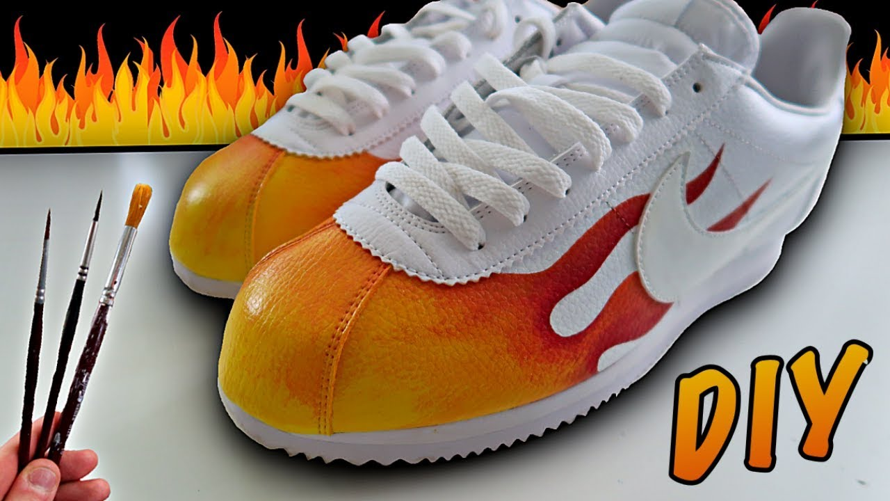 Custom FLAME Nike Cortez!! - YouTube