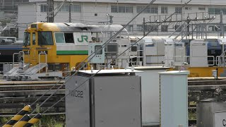 2020/09/01 【構内移動】 E195系 LT-1編成 尾久車両センター | JR East: E195 Series Rail Carrier LT-1 Set at Oku