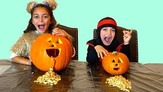 Kids Carving Pumpkins Halloween 2019 Learn and Play with Zack