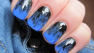 Blue and black needle nails - Niebiesko czarne mani z użyciem igły - Basevehei