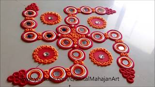 Super Easy Innovative Swastik Rangoli Using Bangles  Creative Rangoli by Shital Mahajan.