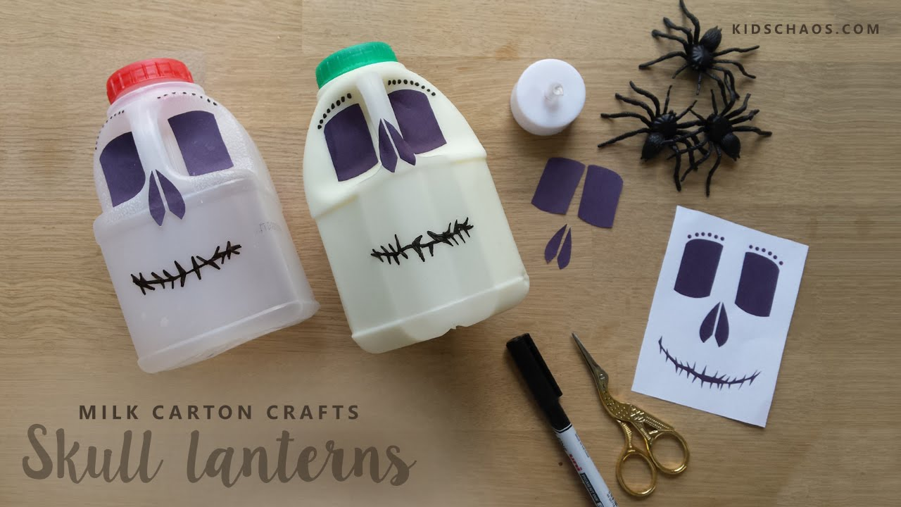 milk carton skull lamps for halloween youtube - Milk Carton Halloween Ghosts