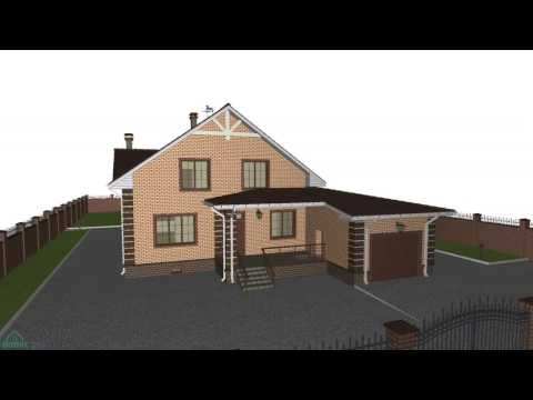 Мансардный дом с гаражом и баней «Достойный»  F-128-ТП