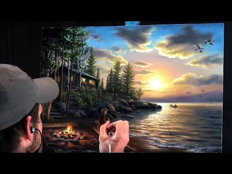Acrylic Landscape Painting Time-lapse | Sunset at the lake