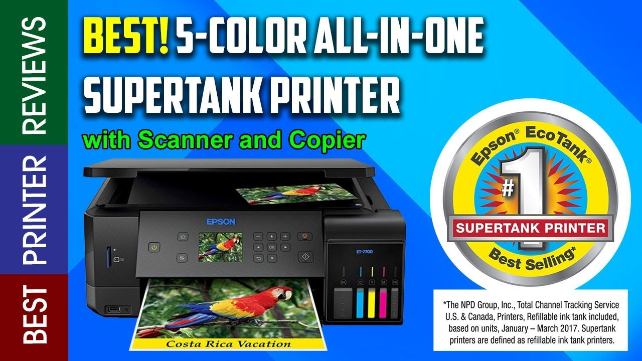 Epson Expression Premium ET 7700 EcoTank Wireless 5 Color All in One  Printer with Scanner, Copier