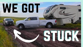 WE GOT STUCK! 😬(TRYING TO BOONDOCK IN SOUTH DAKOTA BADLANDS) || RV LIVING