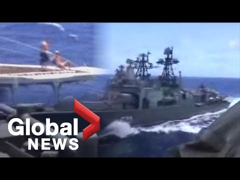 U.S. Navy, Russian close call: Russian sailors appear to be sunning during near collision