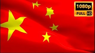 Chinese flag waving in wind video footage Full HD. Realistic Chinese Flag. China flag buy