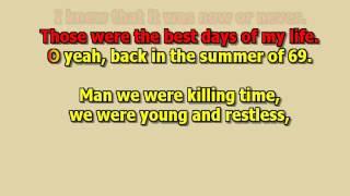 summer of 69 Bryan Adams best karaoke instrumental lyrics