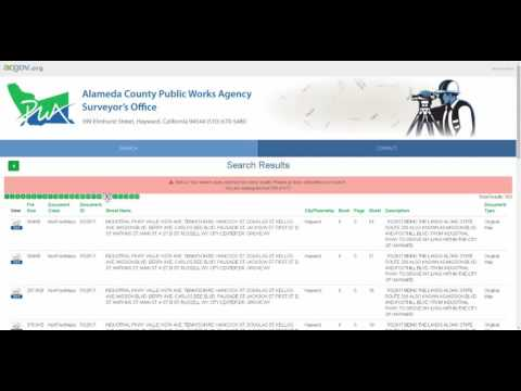 Alameda County Surveyor Maps And Documents Search Application Tutorial