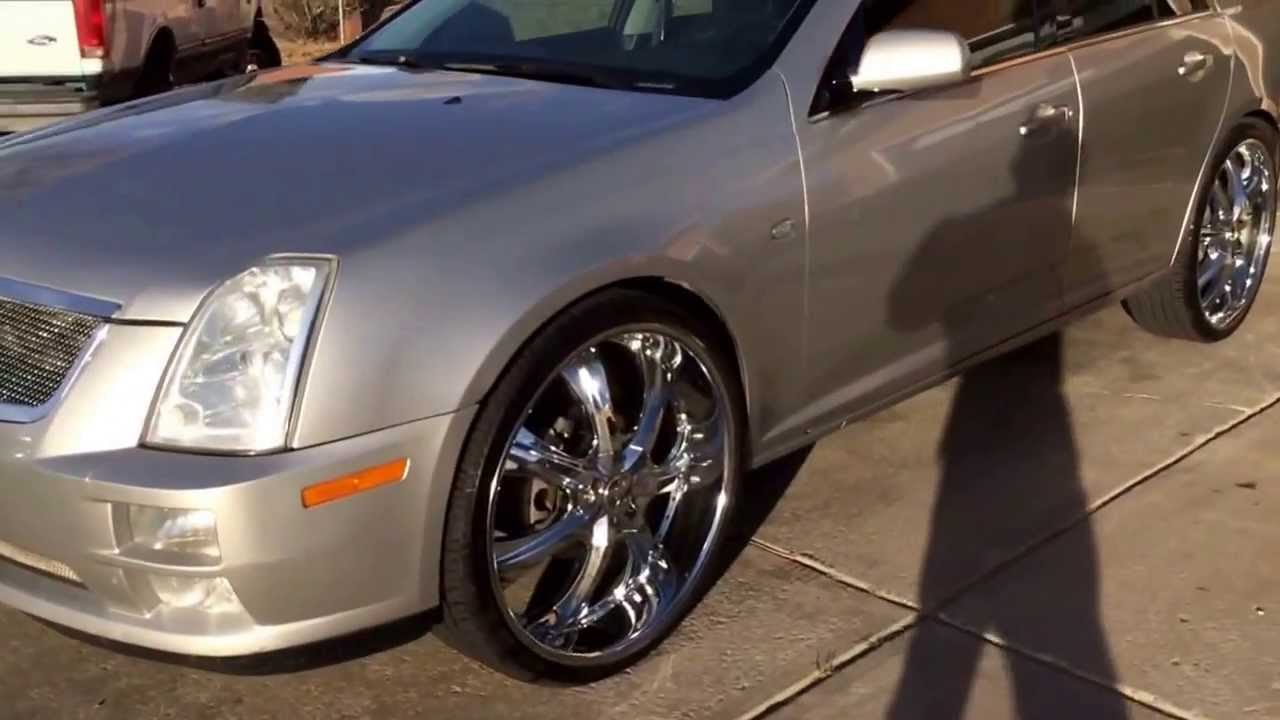 Cadillac sts 24 inch rims walk around video - YouTube