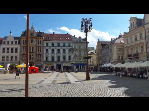 Liberec -  Dr. Edvard Beneš square with Townhall. The northernmost city of the Czech Republic