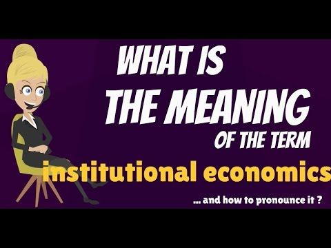 What is INSTITUTIONAL ECONOMICS? What does INSTITUTIONAL ECONOMICS mean?