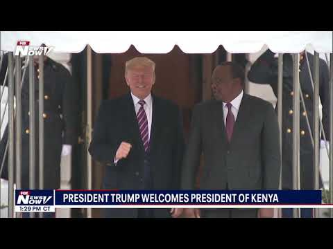 WELCOME TO THE WHITE HOUSE: President Trump greets president of Kenya