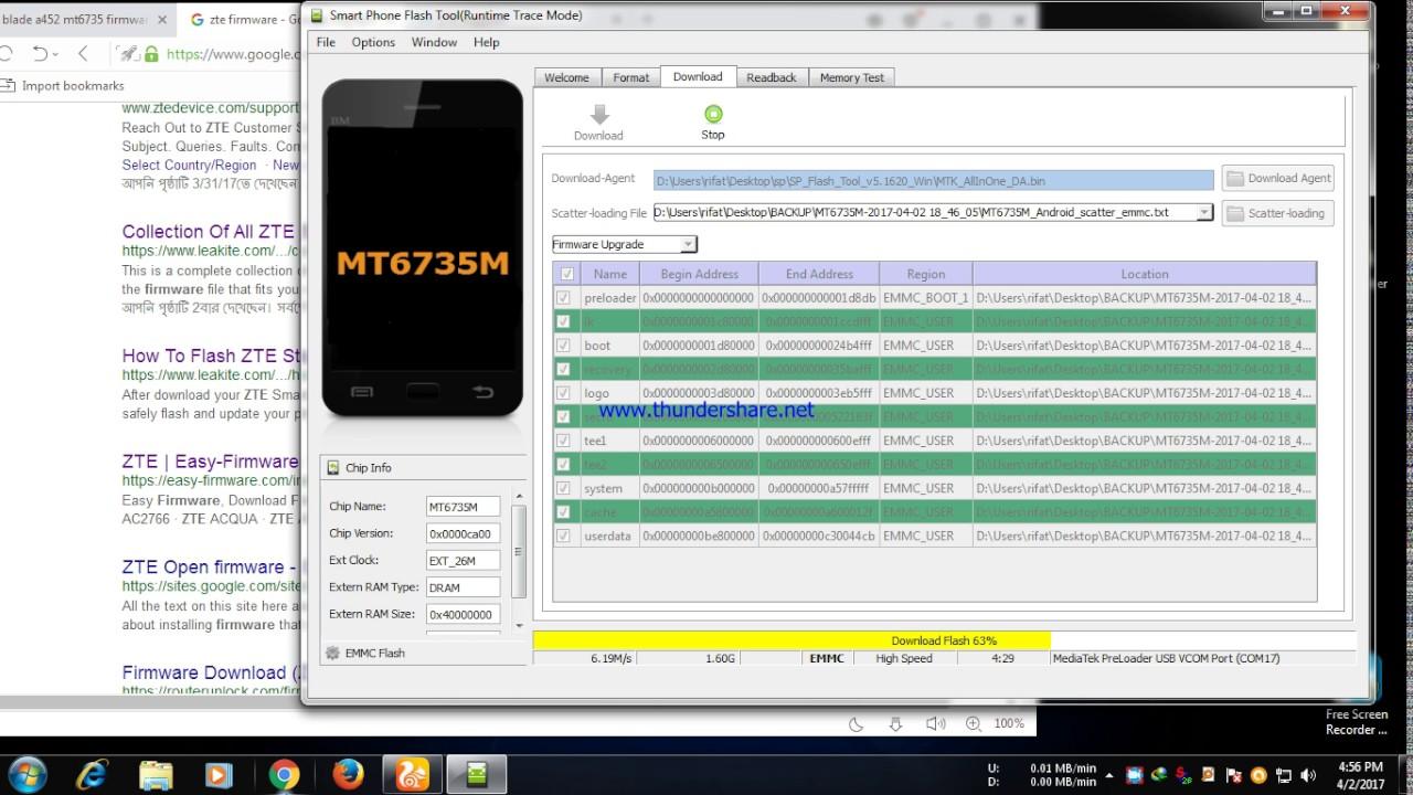 zte blade A452 firmware flash done