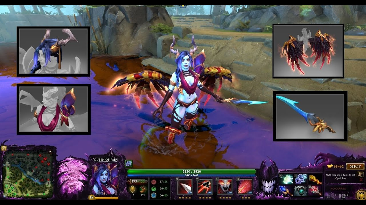 Dota 2 Queen Of Pain Mix Set Bloodfeather WingsStyle Of