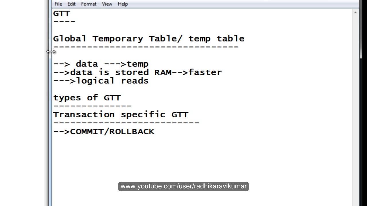 SQL: Global Temporary Table (GTT) Part-1