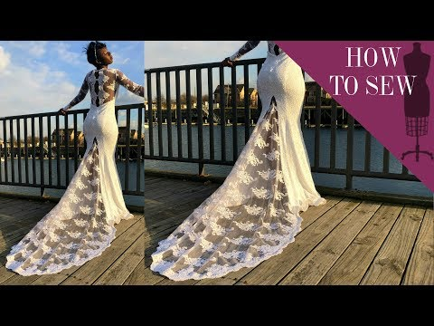 How To Sew Lace Applique On A Fishtail Bridal Gown