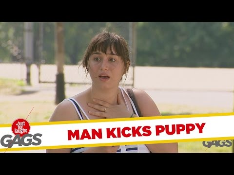 Man Soccer-Kicks Puppy