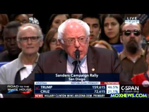 """To The Walton Family! Get Off Welfare! Pay Your Workers A Living Wage!"" Bernie Sanders San Diego"