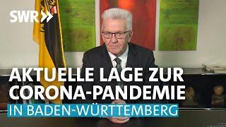 Baden-württembergs ministerpräsident winfried kretschmann äußert sich in einer sonderansprache zur aktuellen lage des corona-virus und den entsprechenden auf...