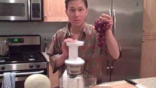 Juicing Watermelon Apple Pear Citrus Grape Cantelope In The Omega Vrt330 Vert Juicer