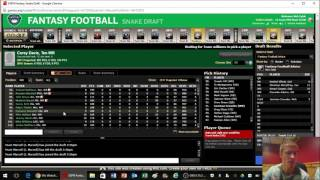 Live 2017 Fantasy Football PPR Mock Draft Free HD Video