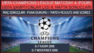 2018/19 UEFA Şampiyonlar Ligi 4. Hafta Sonuçları-Puan Durumu, Champions League Matchday 4 results...