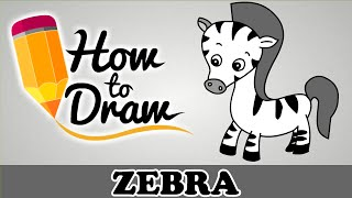 How To Draw A Zebra - Easy Step By Step Cartoon Art Drawing Lesson Tutorial For Kids & Beginners