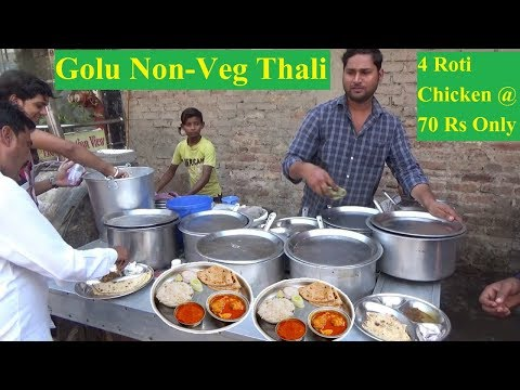 4 Roti Chicken Curry @ 70 Rs |  Cheap & Tasty Food | Delhi People Loving Roadside Food