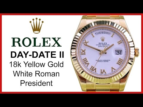 Rolex Day-Date II Yellow Gold, White Roman UNBOXING & REVIEW - 41mm, Fluted Bezel, 218238 WHTRFP