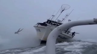 Giant wave hits boat and surfer is cast into the sea at Mavericks