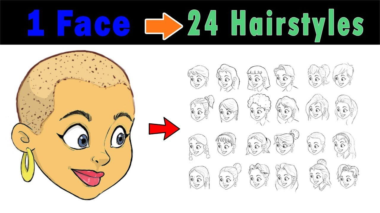 draw hairs of female cartoon