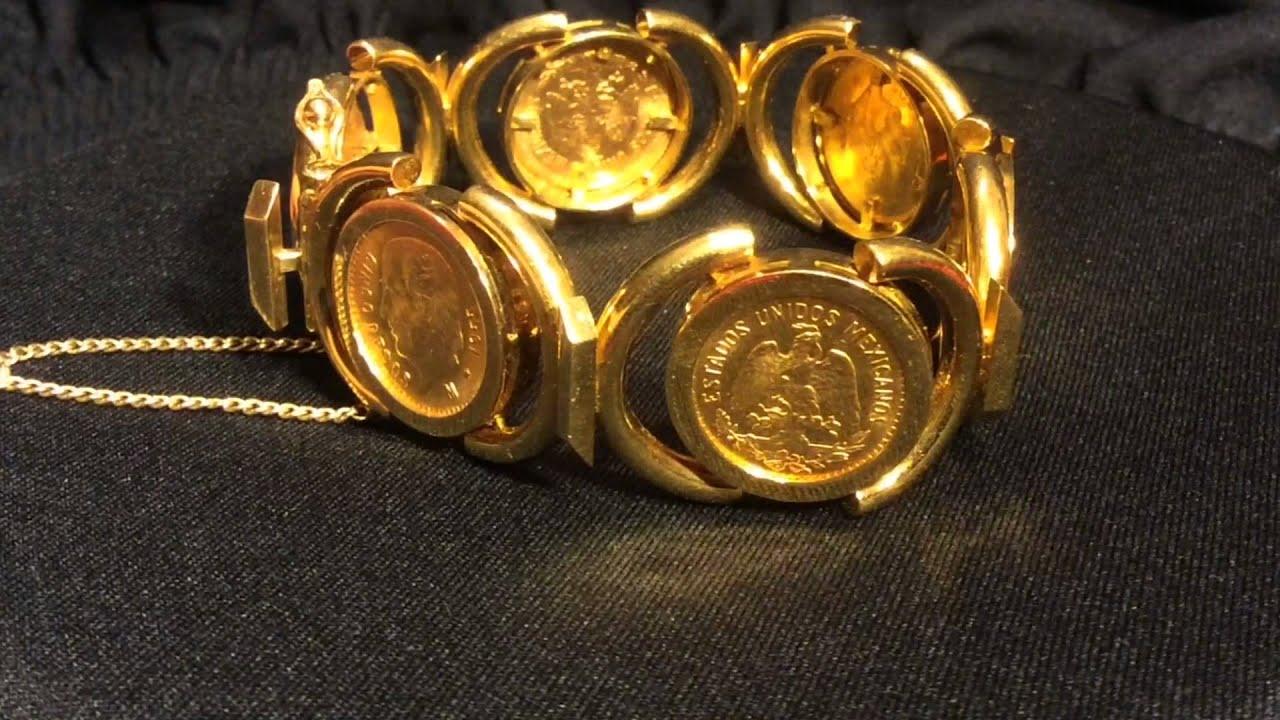 Handmade Gold Mexican Bracelet 1955 Cinco Pesos YouTube