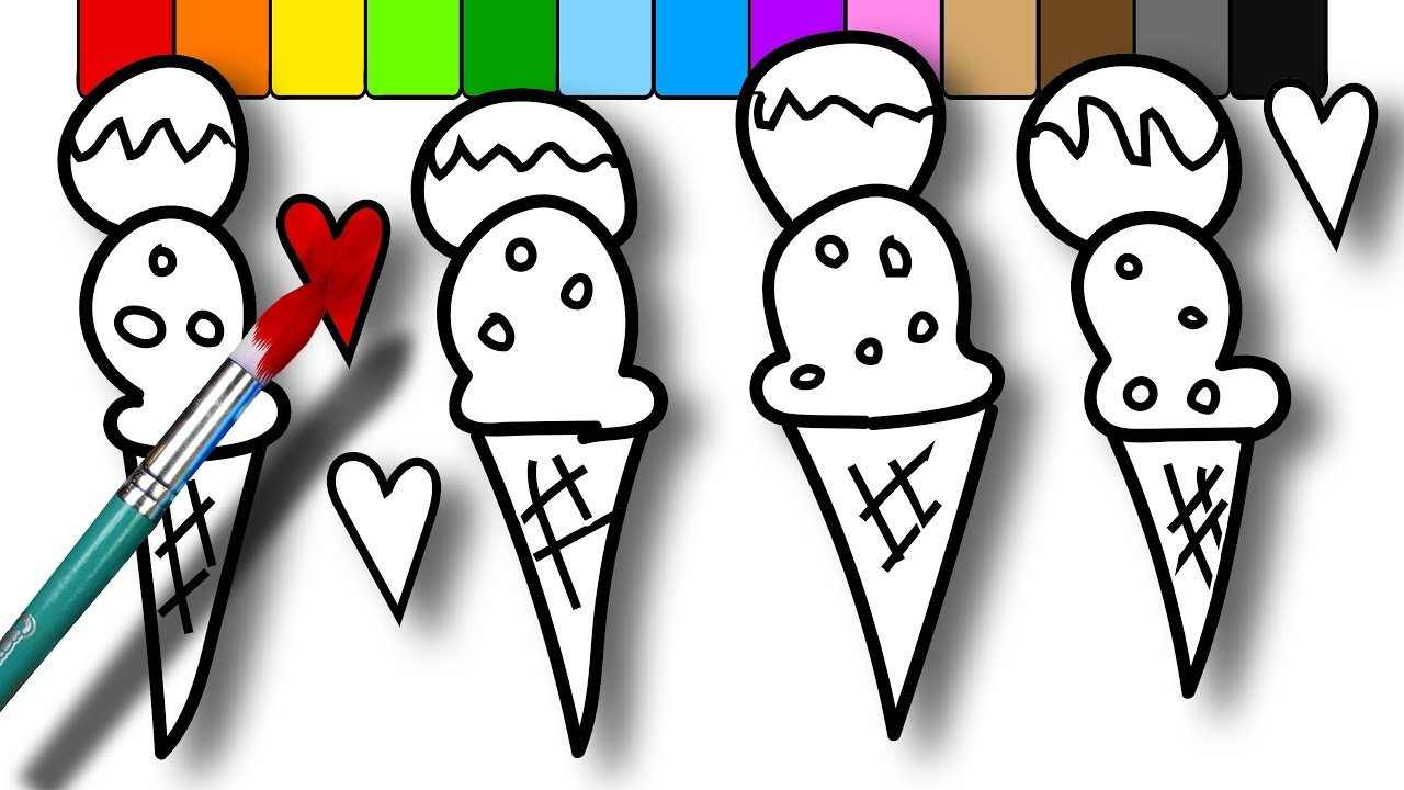 coloring for kids double scoop ice cream cone coloring pages