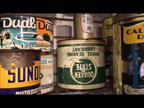 Antique Gas Oil Tin Cans-Strathroy Antique Mall-En ar co-Texaco Shell- Red Indian